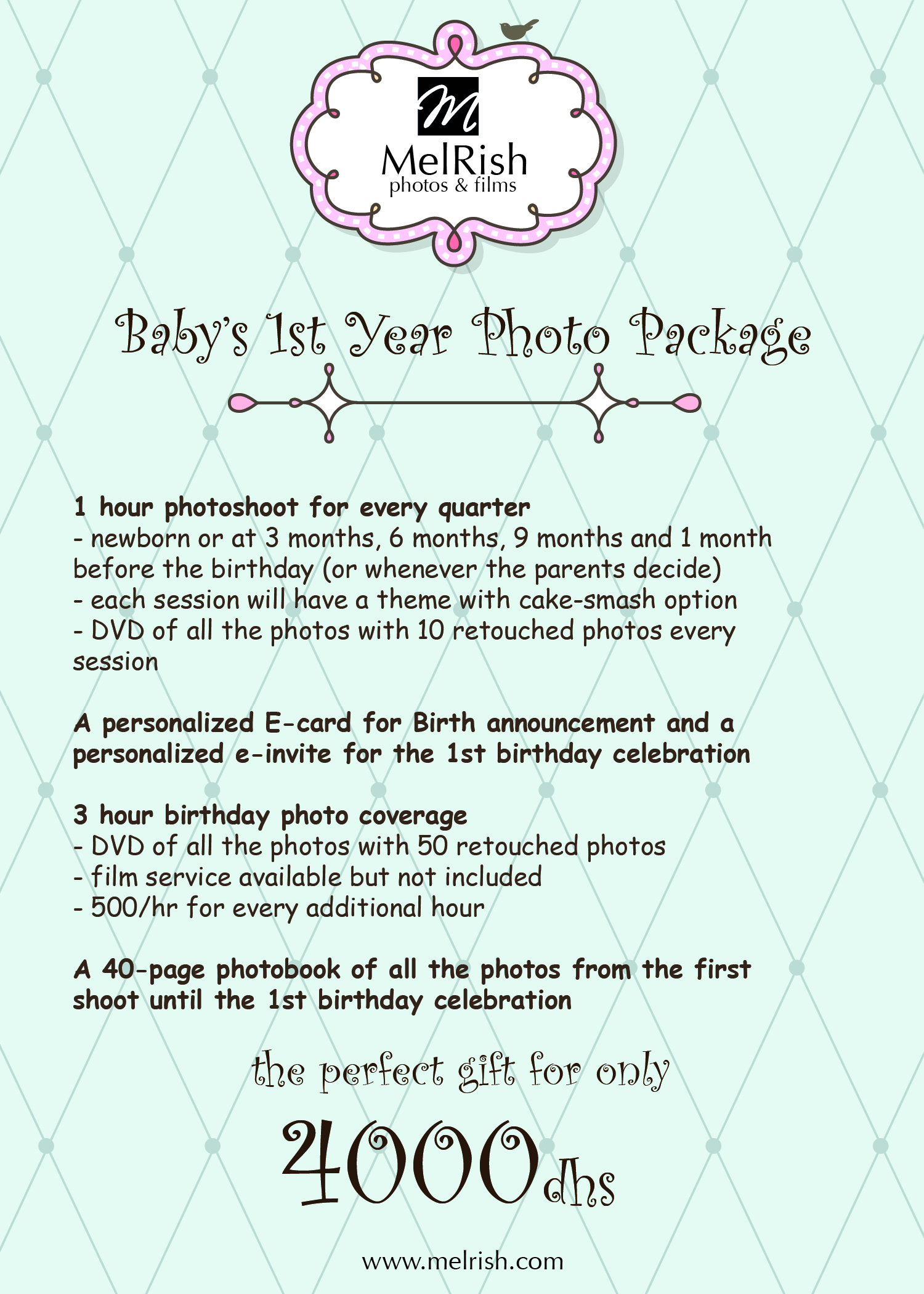 Wedding Photography Package Names: Baby's 1st Year Photography Package