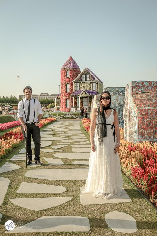 Dubai Miracle Garden engagement shoot